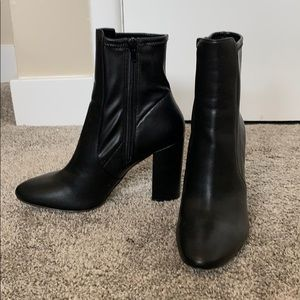 Aldo Black Leather Heeled Boots